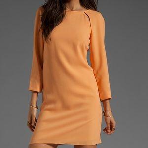 Tibi Peekaboo Shift Dress in Peach